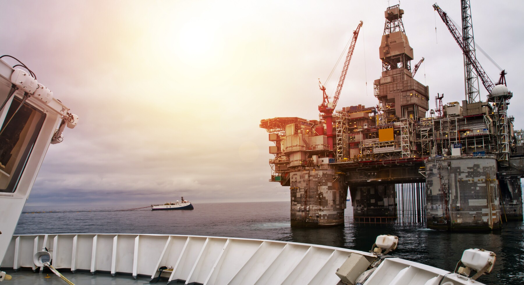 Offshore drill rig at sea at close distance