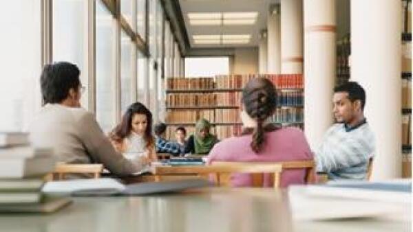 universitarios, estudiantes, biblioteca, escuela,