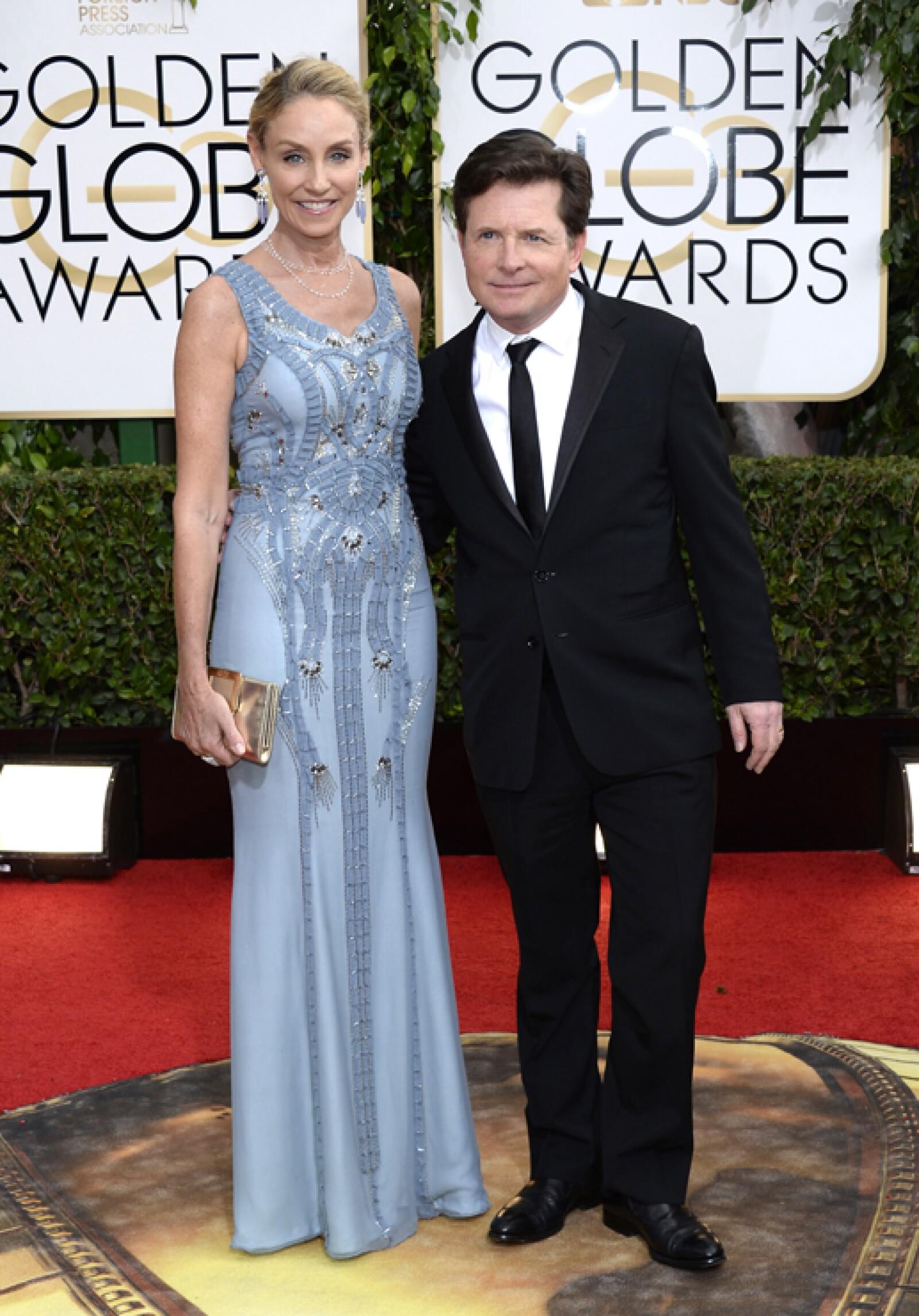 Michael J. Fox llegó a la red carpet con su esposa Tracy Pollan además de muchas esperanzas de ganar el premio al Mejor Actor de Comedia.