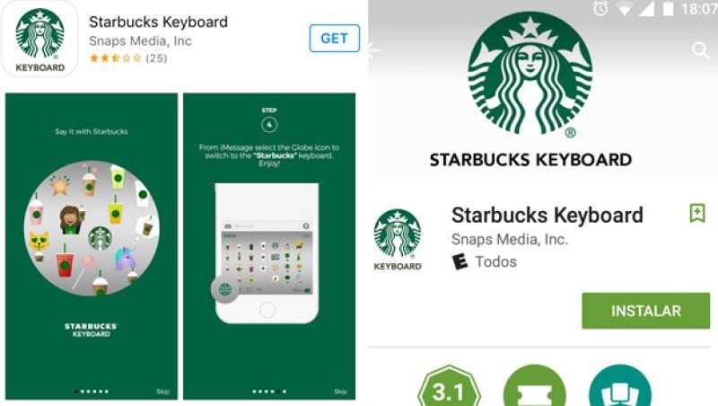 Ya sea para Android o iOS, la manera de descargarlo es escribiendo en el buscador Starbucks Keyboard.