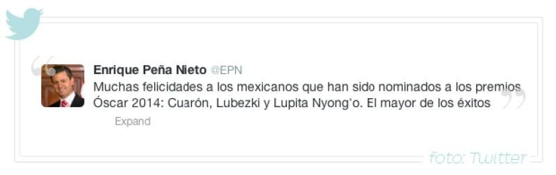 El presidente de México utilizó Twitter para desearles suerte a Alfonso Cuarón, Emmanuel Lubezki y Lupita Nyong´o, quienes figuran en diferentes categorías en los Premios de la Academia.