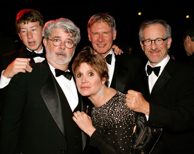 Carrie Fisher, Harrison Ford, George Lucas