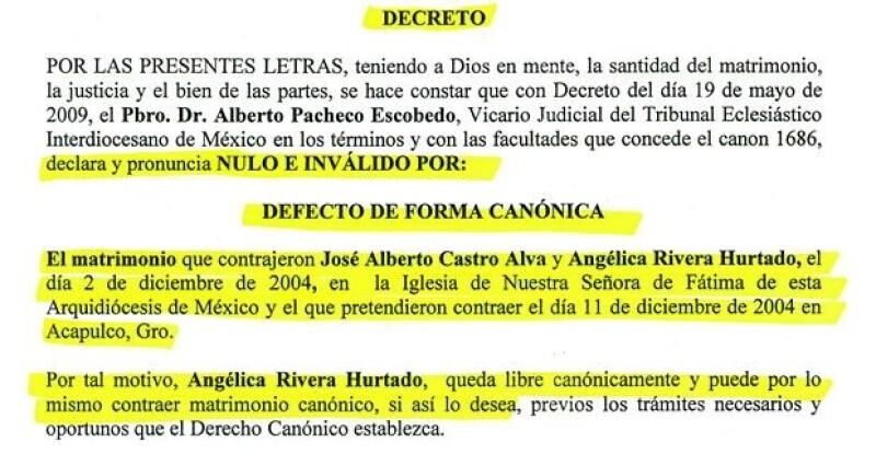 """Documento que conmprueba que el matrimonio religioso de Angélica Rivera y """"El Güero"""" Castro quedó anulado."""
