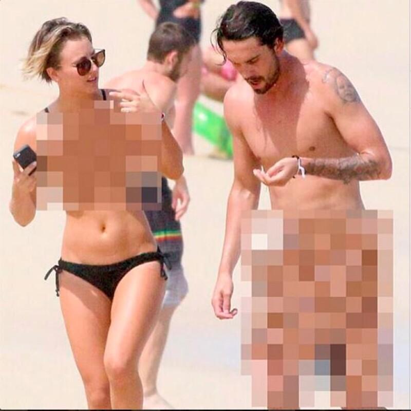 La actriz publicó en su cuenta de Instagram una fotografía editada en la que aparece supuestamente desnuda junto a su esposo.