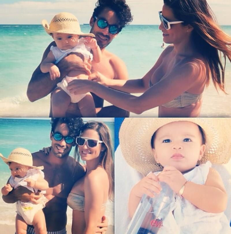 La hija de los actores cumplió ayer 8 meses de nacida y sus sexys papás la llevaron a la playa a disfrutar del sol y el mar.