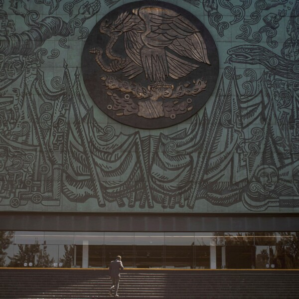 A man walks on the stairs leading to the Mexican Congress in Mexico City
