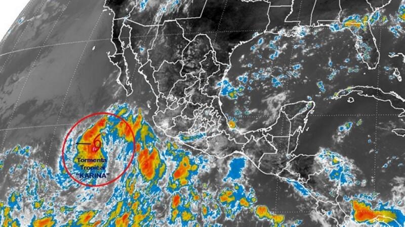 La tormenta tropical ?Karina? se formó este miércoles y mantiene en alerta a cuatro entidades del occidente de México