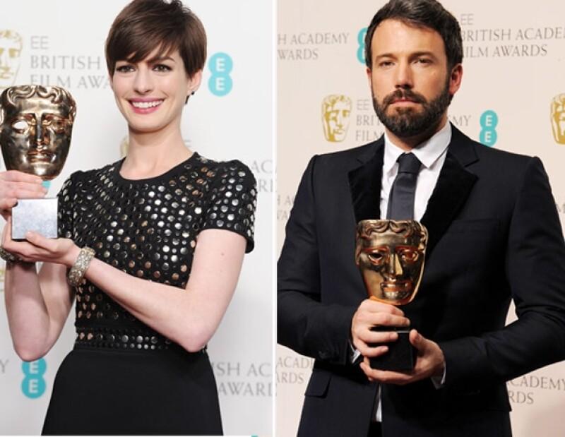 Grandes estrellas asistieron a esta reconocida entrega de premios en Londres, entre ellas, Anne Hathaway y Ben Affleck, quienes obtuvieron la codiciada presea.
