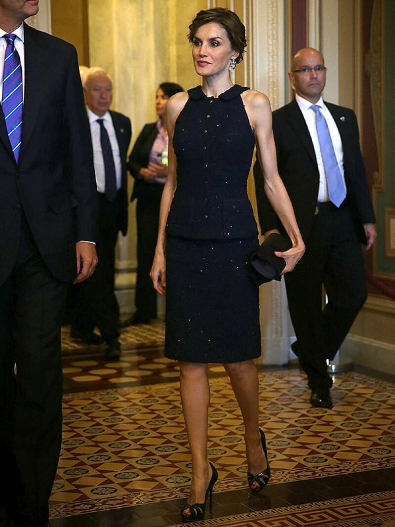 La reina a su llegada a la Casa Blanca.