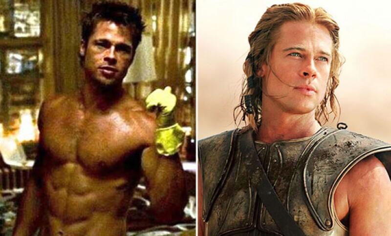 Fight Club y Troya, dos de las películas en las que Brad Pitt interpretó a dos sexys personajes.
