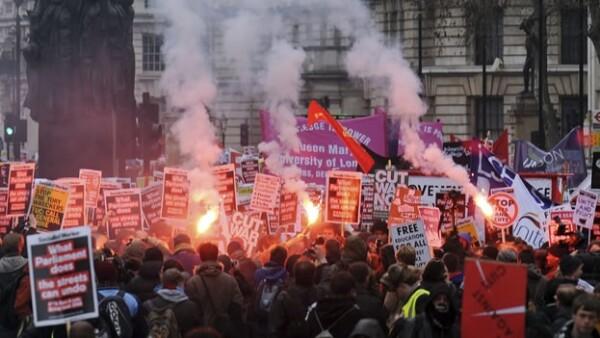 protestas estudiantiles en londres