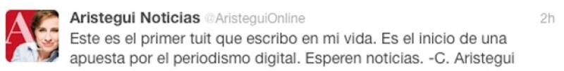 """La periodista escribió sus primeros 140 caracteres en la red social a través de la cuenta oficial de su próxima página electrónica de noticias """"Aristegui Online""""."""
