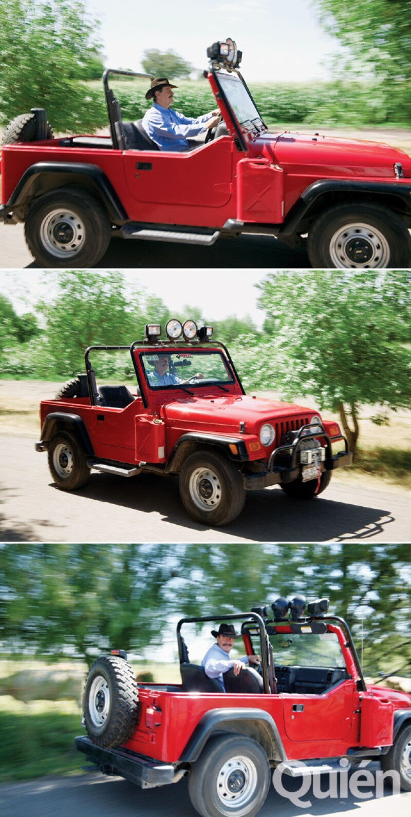Aquí en su Jeep favorito. También tiene un Hummer en un estacionamiento techado, con capacidad para 15 coches.