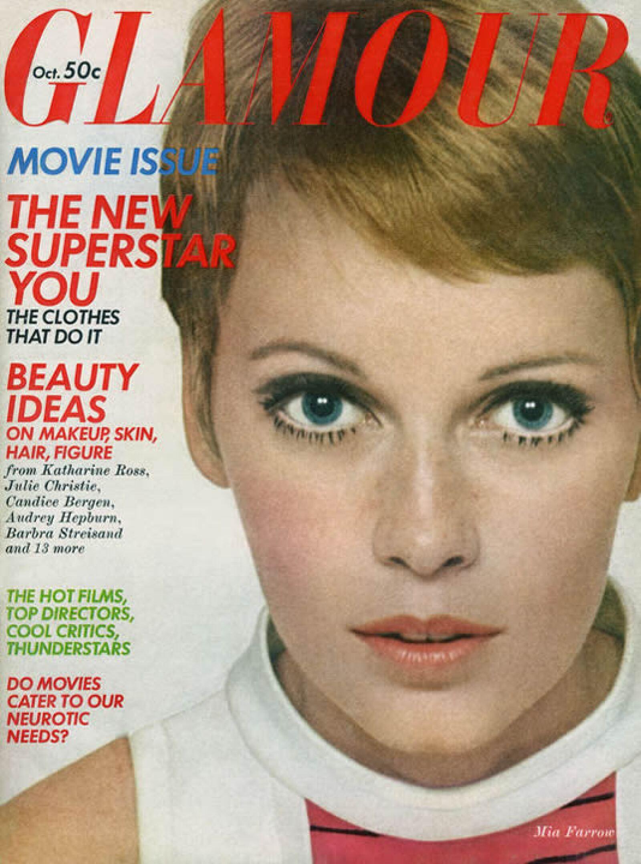 Glamour, octubre 1968: Mia Farrow fue la portada del mes, usando el muy famoso pixie cut.