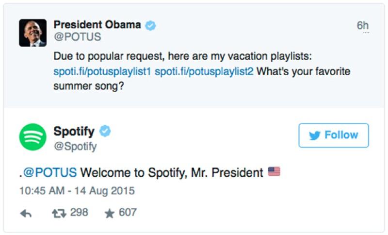 La Casa Blanca compartió dos listas con canciones que acompañaran al Presidente en el día y noche.