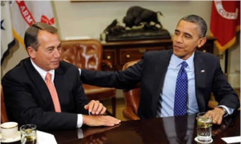 El portavoz de la Cámara de Representantes, John Boehner, y el presidente Obama han pedido al Congreso presentar sus propuestas de recortes.  (Foto: Cortesía CNNMoney)