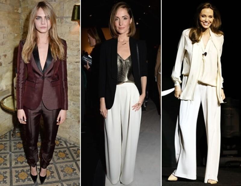En color negro, blanco o burgundy, los trajes se apoderan de las pasarelas y los red carpets.