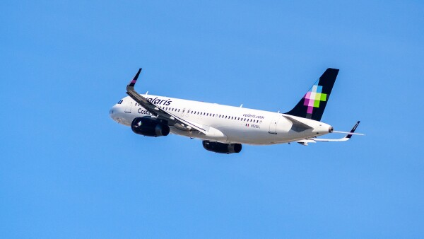 Volaris airlines aircraft after taking off