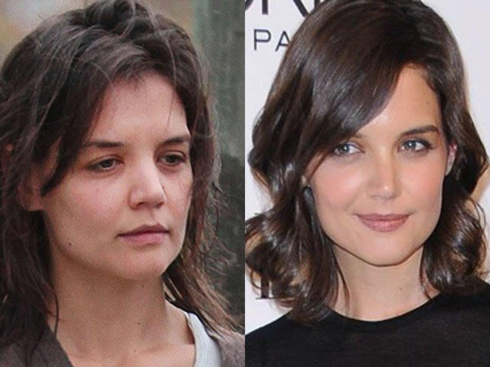 Katie Holmes impresionó por su belleza a Tom Cruise pero cuando se quita el maquillaje la realidad es que no es tan guapa como parece.