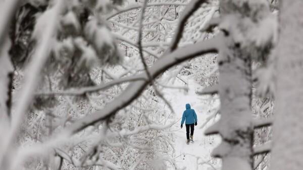 una persona camina en un parque en milwaukee