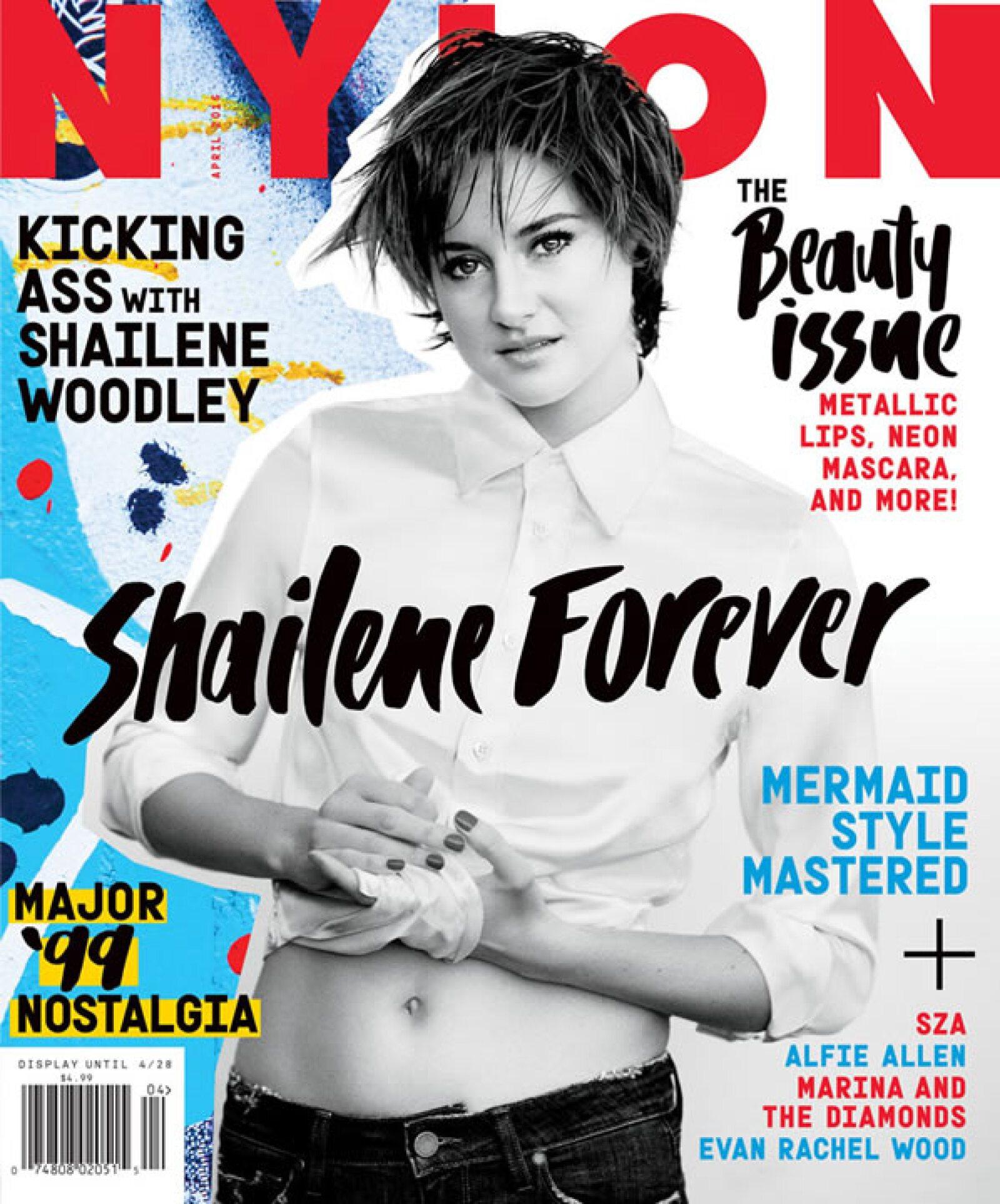 Shailene Woodley, la actriz de ´Insurgente´, aparece en la portada de NYLON USA con un look muy andrógino. Fotografiada por Hilary Walsh, aparece con el pelo súper corto, jeans y una camisa agarrada de manera sexy.