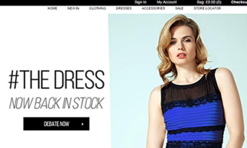 El portal de Roman fue actualizado para mostrar el debatido vestido en su página de inicio. (Foto: Especial)