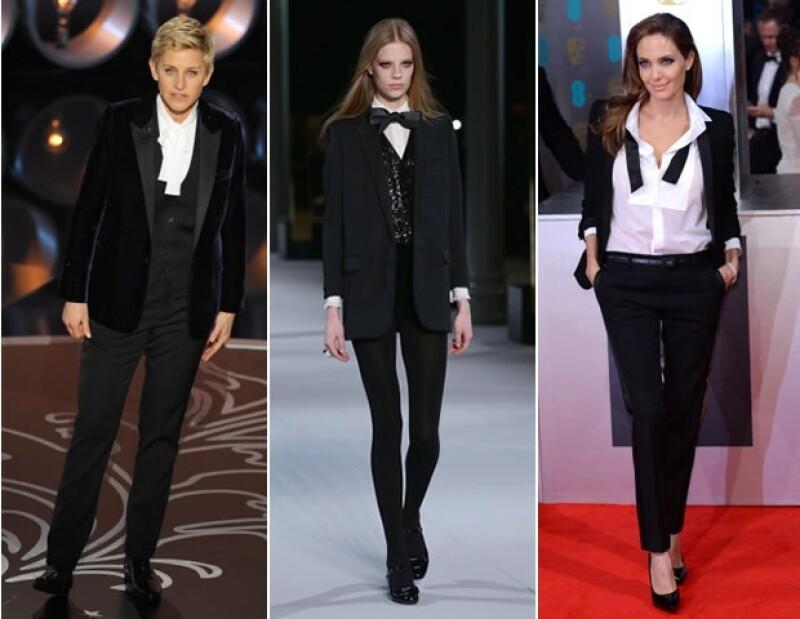Angelina Jolie y Ellen DeGeneres optan por los diseños de Saint Laurent París.