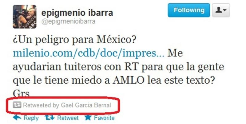 Este fue el mensaje retuiteado por el actor mexicano.