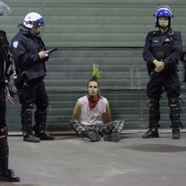 estudiante, policia, punk, manifestante, vancouver
