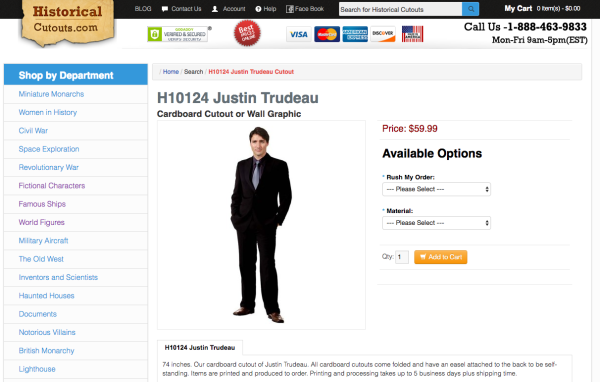 Cartón tamaño real de Justin Trudeau