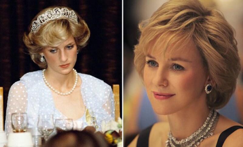 Naomi Watts no tuvo mucho éxito interpretando a Lady Di, pero su parecido era particular.