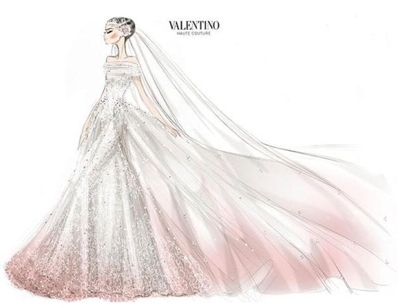 El vestido de la actriz era de tul con flores de saten.
