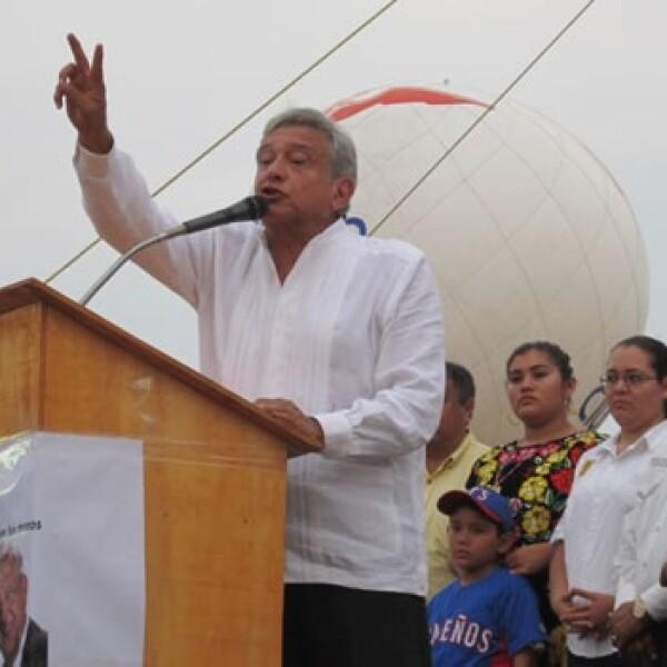 Obrador hace mitin en Coatzacoalcos