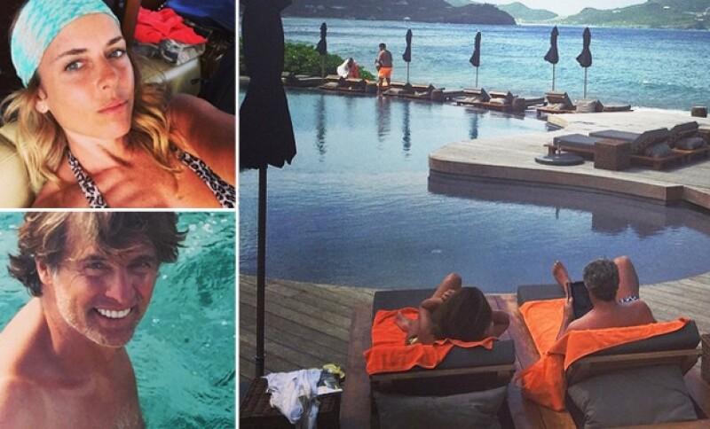 La romántica pareja de actores que el próximo mes celebra otro aniversario de bodas, compartió en Instagram imágenes de sus vacaciones por la isla francesa en el Caribe.