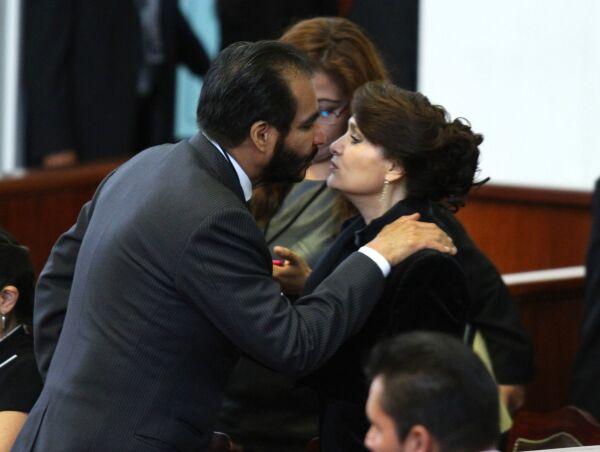 René Bejarano y Dolores Padierna