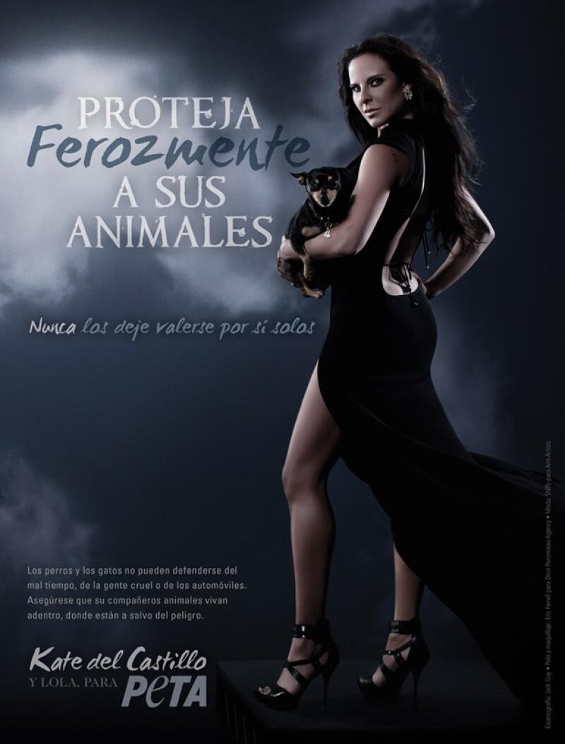 La actriz es parte de la campaña `Fiercely Project your animals´ de la organización y  pretende fomentar la esterilización y cuidado de las mascotas.