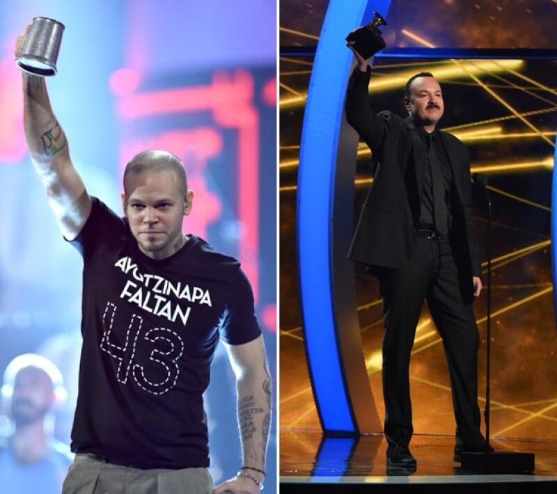 René de Calle 13 sorprendió con su playera en pleno show, mientras que Aguilar dedicó su premio a nuestro país.