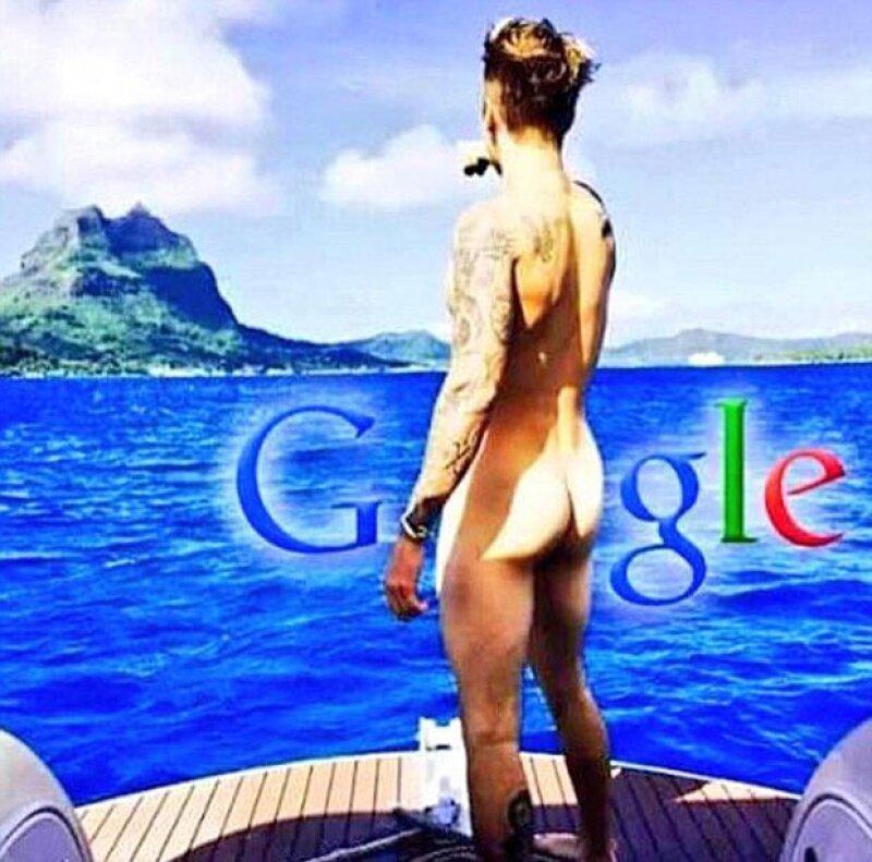 """Google, anuncio de Parental Advisory y más enunciados fueron los que usaron para """"cubrir"""" el derrère de Justin."""