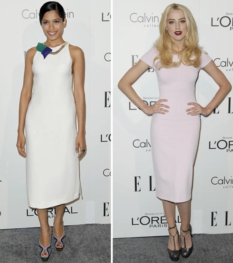 Freida Pinto (izquierda), Amber Heard (derecha).