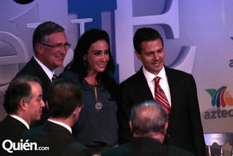 Ricardo Salinas Pliego, María Laura Salinas, Enrique Peña Nieto.