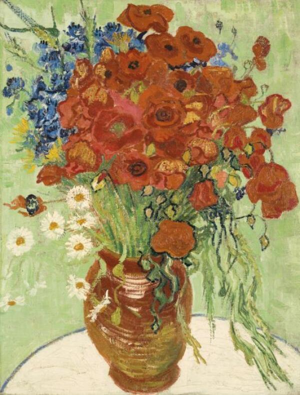 Nature Morte, Vase Aux Marguerites Et Coquelicots