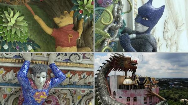 Un templo de Bangkok pone al Che, Batman y Mickey junto a dioses budistas 14w 73c