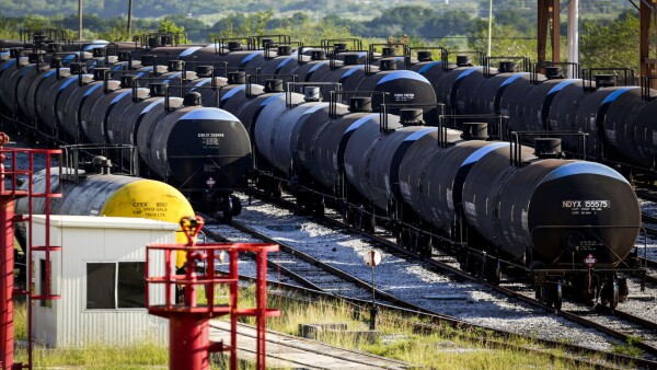 Oil tanker railcars of Mexican state oil firm Pemex's are pictured at Cadereyta refinery, in Cadereyta