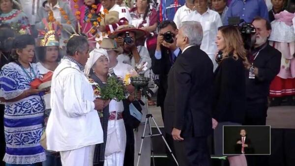 El ritual de los pueblos originarios para AMLO