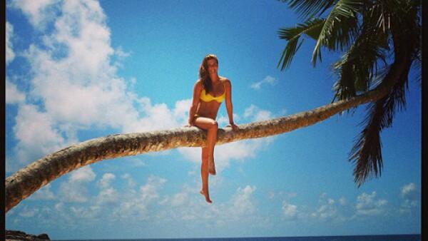 Montserrat Oliver posó con un modelito amarillo sobre una palmera en las islas de Seychelles.