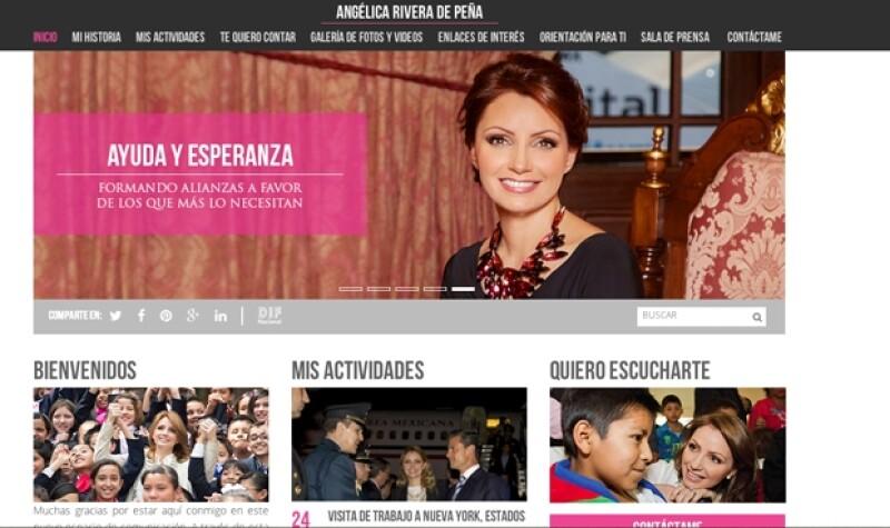 Así luce la página principal del sitio de la esposa de Enrique Peña Nieto.