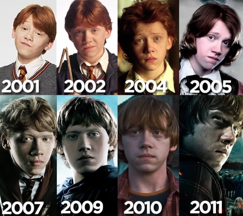 La evolución del personaje de Ron Weasley, interpretado por Rupert Grint.