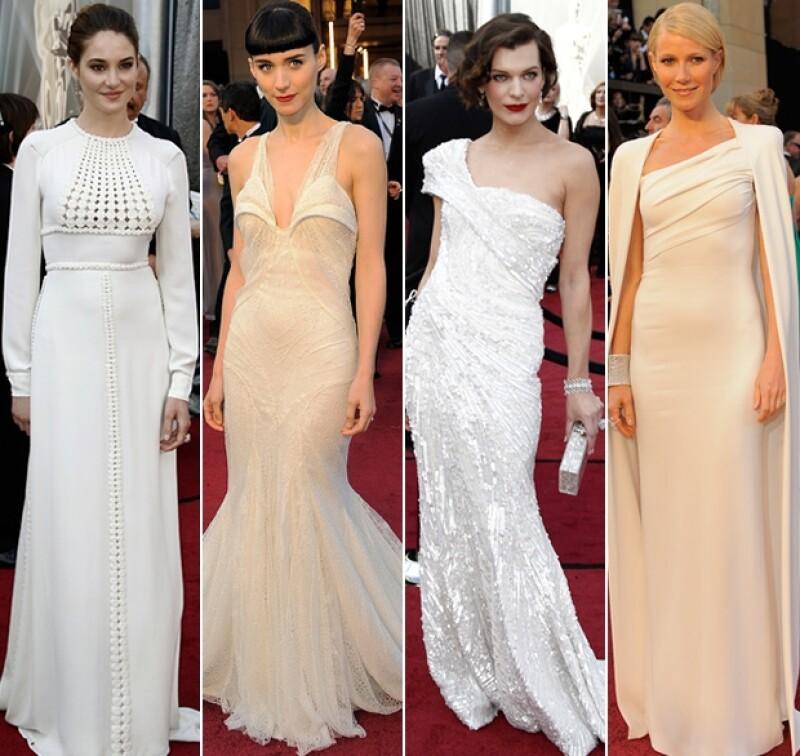 Ellas fueron las mejor vestidas en color perla.