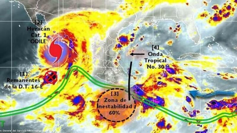 a baja presión que tiene un 60% de convertirste en depresión tropical en los próximos dos días, según la Conagua