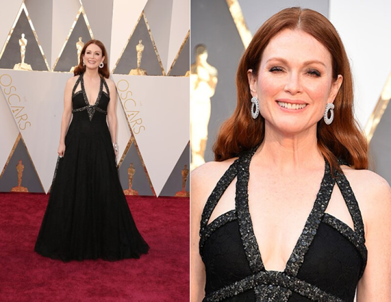La actríz utilizó un modelo de Chanel negro en encaje, con detalles en Swarovsky y que tomó alrededor de 500 horas de trabajo.